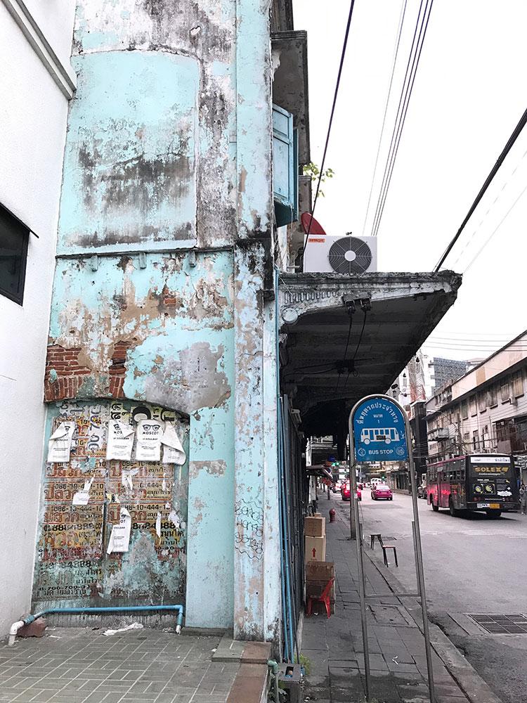 Urban sidewalk filming location in Bangkok Thailand