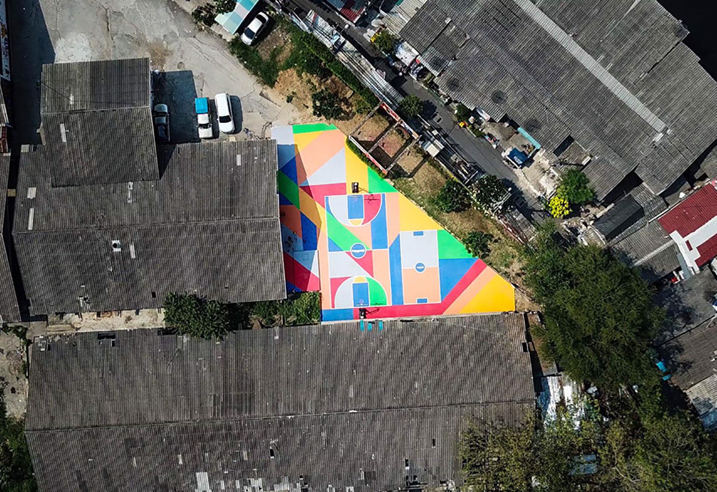 Funky basketball filming location in Bangkok Thailand