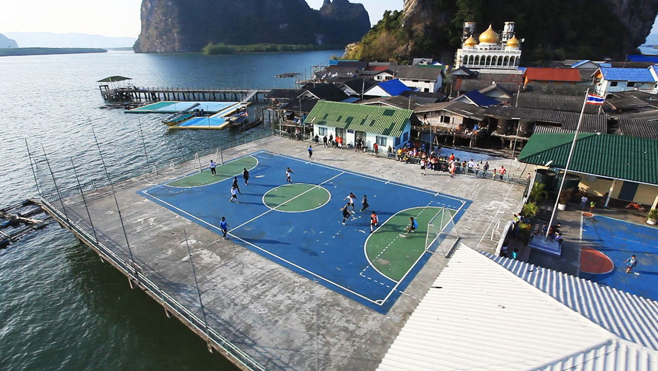 Floating football pitch filming location in Thailand