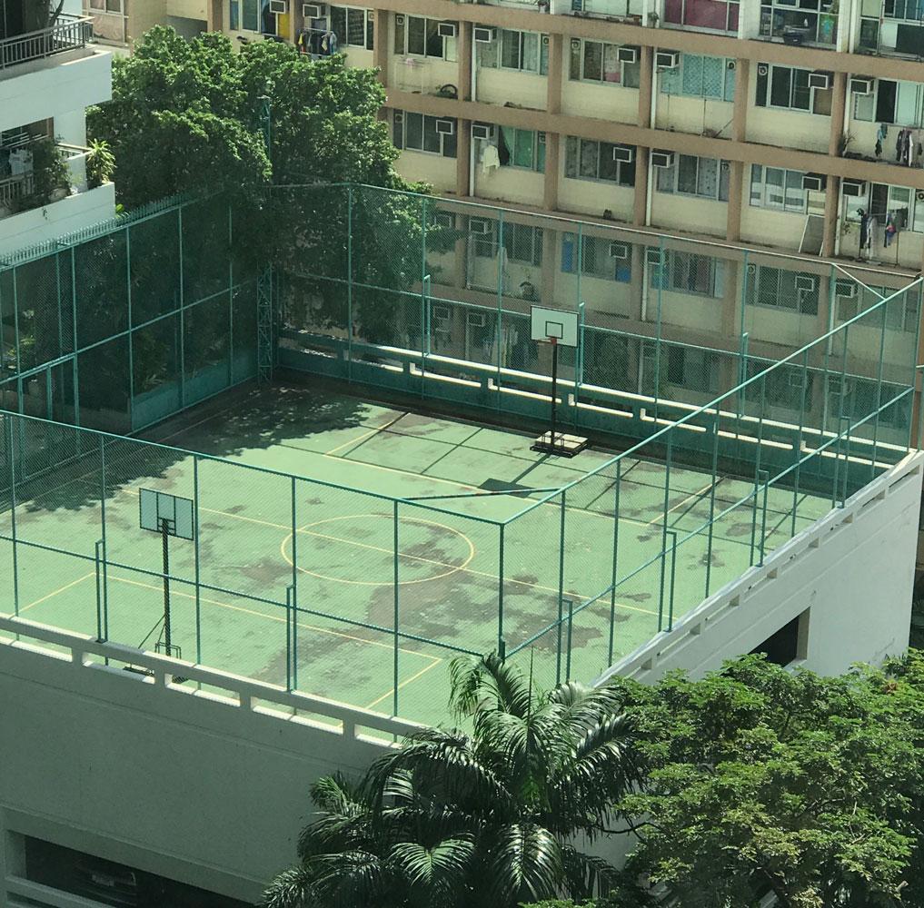 Urban basketball court shooting location in Bangkok Thailand