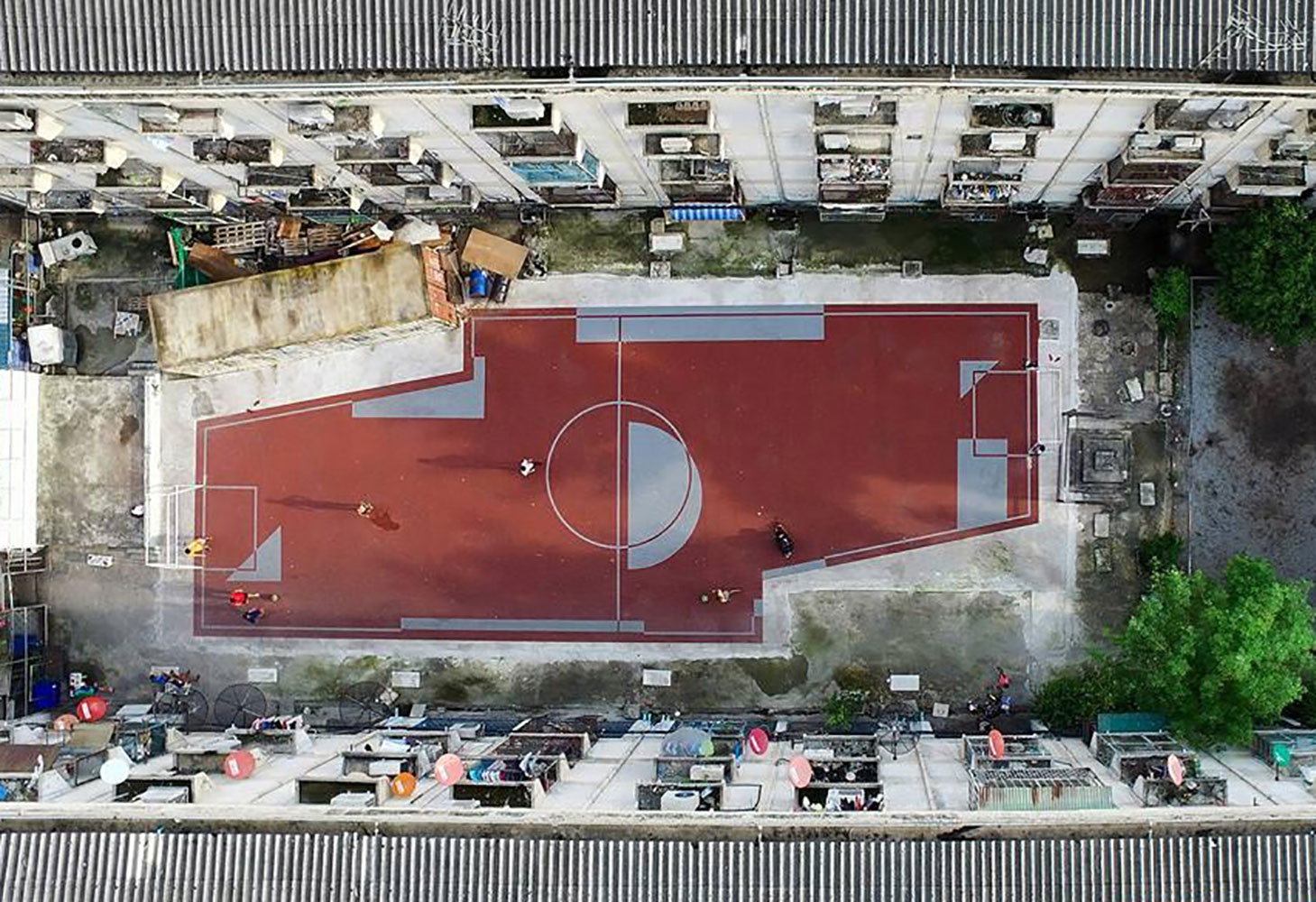 Diagonal football field in Bangkok Thailand