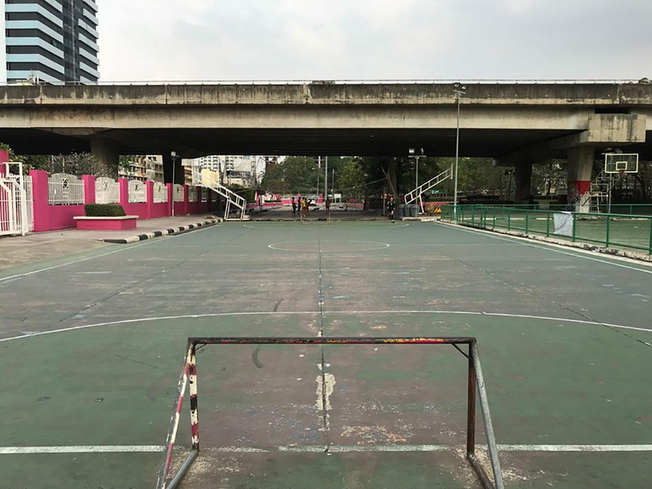 Urban soccer field in Bangkok Thailand